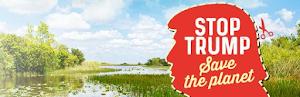 Grafik: Landschaft, Trump-Kopf (zum ausschneiden) «Stop Trump, Save the planet».