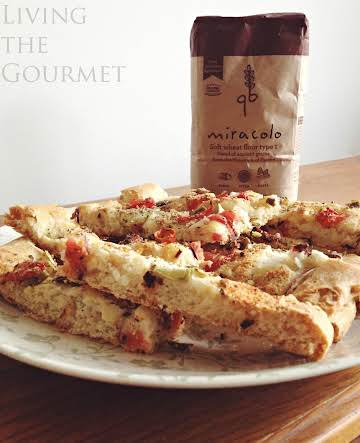 Focaccia w/ fresh tomato, zucchini & olives