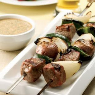 Steak & Potato Kebabs with Creamy Cilantro Sauce for Two.