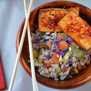 Chili Marinated Tofu with Coconut Rice.