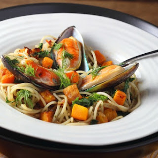 NZ mussels with Quinoa Spaghetti and Roasted Squash.