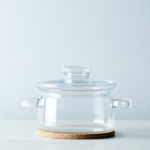 Borosilicate Glass Pot with Trivet and Storage Lid