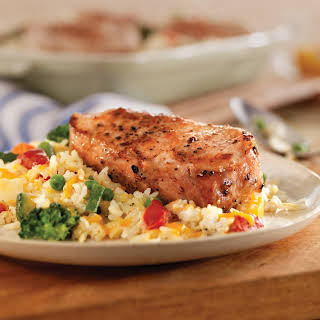 Easy Cheesy Pork Chop and Rice Casserole.