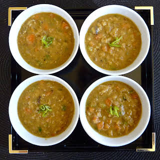 Red Lentil-shiitake Mushroom-barley Soup (recipe After The Jump).