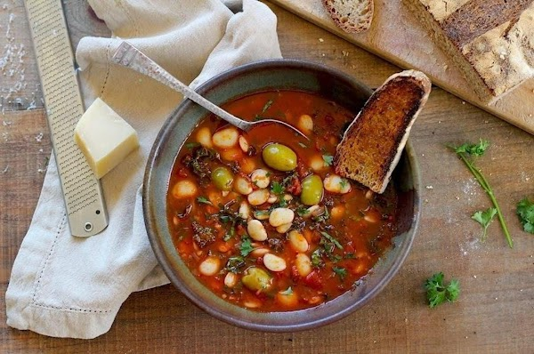 Lima Bean Stew With Tomatoes, Olives, And Kale Recipe