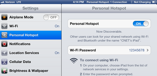 The Verizon version of the new iPad offers the Personal Hotspot feature, which enables users to share the tablet's 4G connection with other Wi-Fi devices.