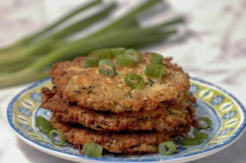 """Zucchini Fritters With Asiago""""This is one of our favorite zucchini recipes. It's..."""