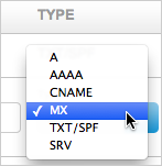 MX Type drop-down option