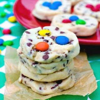 Chocolate Chip Shortbread Cookies with M&Ms