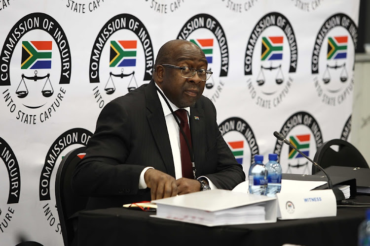Nhlanhla Nene, the minister of finance, testifies at the Zondo commission of inquiry into state capture in Parktown, Johannesburg on October 3 2018.