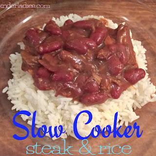 Slow Cooker Steak & Rice.
