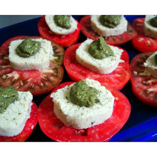 Heirloom Tomatoes With Almond Basil Nut Cheese and Basil Pesto