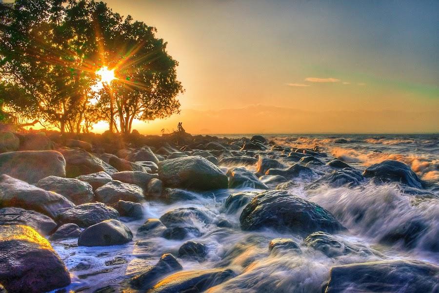 Sunset at Shoreline by Gilbert Sanchez - Landscapes Beaches ( water, sunrises, sun set, splash, waterscape, sun rise, sea, seascape, beach, waterscapes, sunlight, sun, sun rays, beaches, splashing, sunsets, sunset, sunny, sunrays, sundown, sun light, sunshine, sunrise, water surface )
