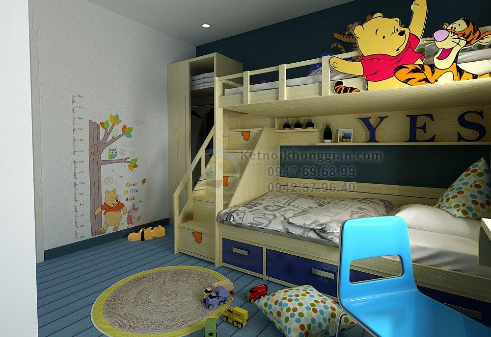 thiết kế nội thất phòng ngủ bé trai ngộ nghĩnh