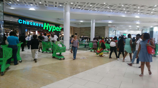 Queues forming at the Checkers at Mall of Africa in Johannesburg for the Black Friday sales.