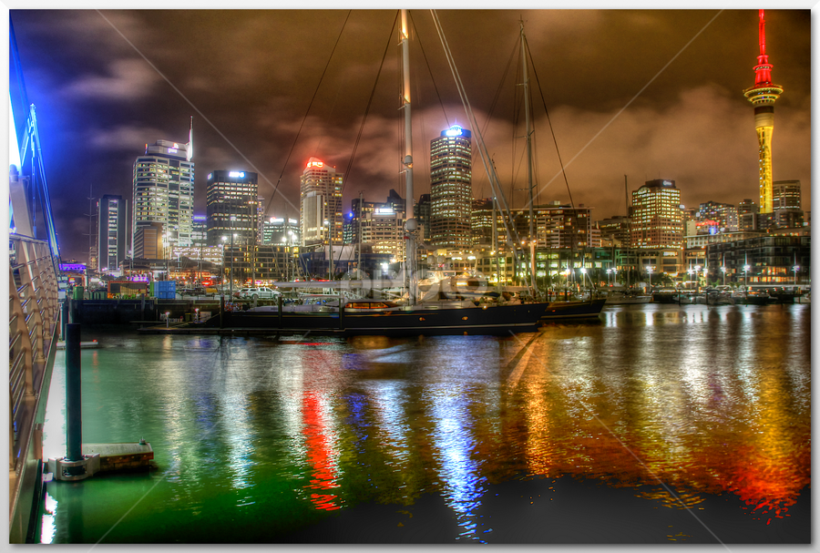 Auckland Harbour by Stephan Guenot - City,  Street & Park  Night ( lights, night )