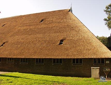 Duża szopa z wysokim spadzistym dachem ze strzechy