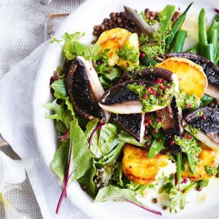 Roasted Mushroom And Haloumi Salad With Crispy Lentils