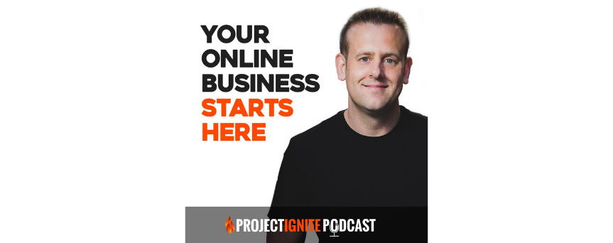 """project Ignite Podcast Podcasts logo """"your online business starts here"""""""