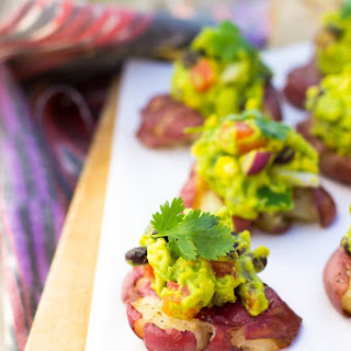 Smashed Potatoes with Loaded Guacamole.