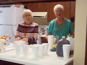 Photo: Carolyn Register and Faye Cooper preparing wonderful food!