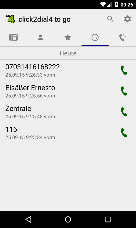 click2dial4 to go - für DISA – Screenshot