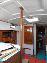 Photo: Installed vertical teak post to in galley.