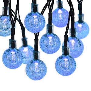 Instalatie solara LED 50 globulete, Albastru