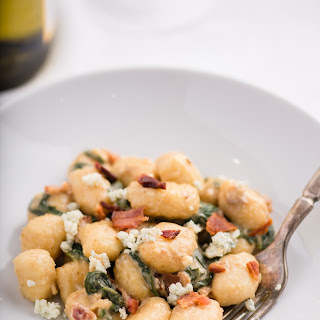 Gnocchi with Spinach, Bacon, and Blue Cheese.