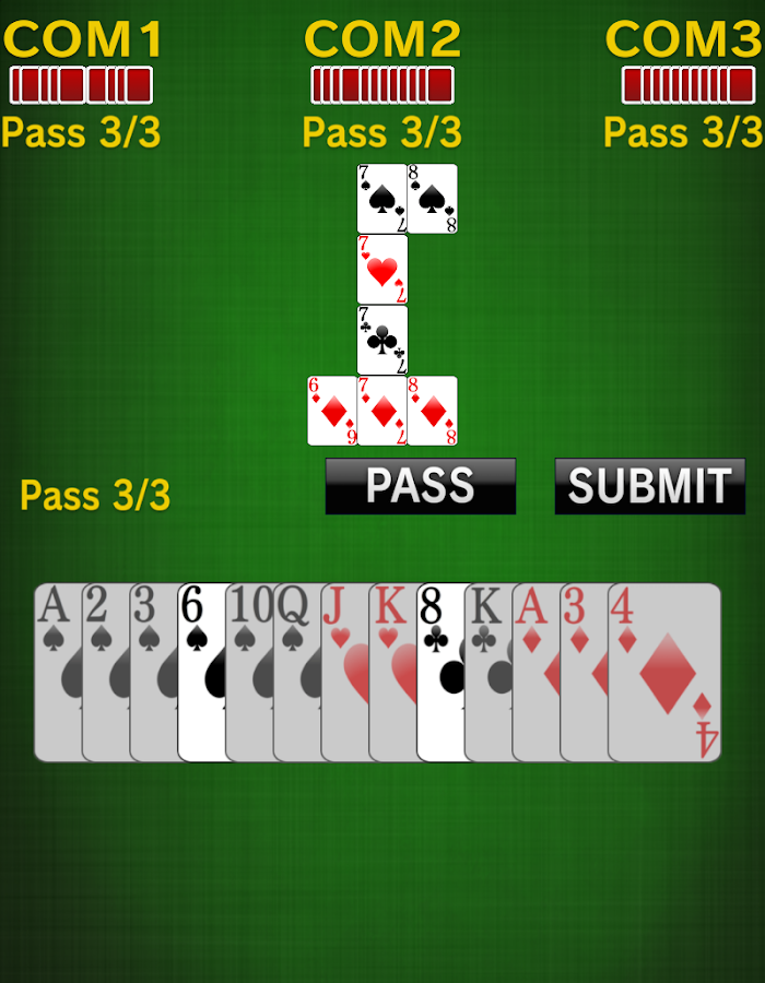 sevens [card game]- screenshot