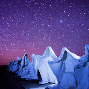 The Last Supper after dark.  by Glen Fortner - Buildings & Architecture Statues & Monuments ( death valley, rhyolite ghost town, nevada, stargazing, starscape )