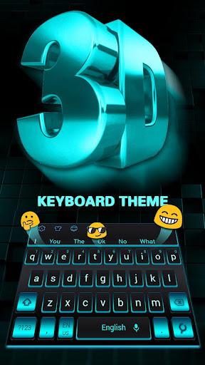 3D Black Blue Keyboard Theme 10001001 screenshots 2