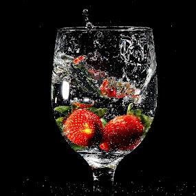 by WanUkay Perdana - Food & Drink Fruits & Vegetables ( fruit, strawberry cameron highlands, glass, malaysia, splash water photography )