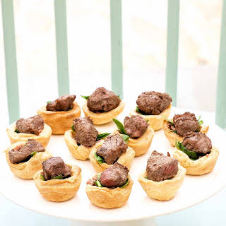 Miniature Beef Wellingtons with Spinach and Pâté Fillings.