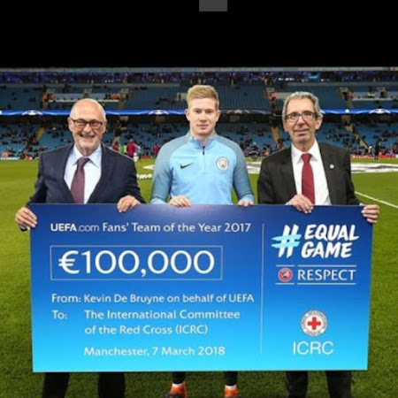 Cheque from UEFA to ICRC