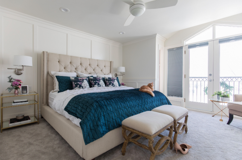 Fresh, traditional master suite bedroom and renovation by Calgary firm, LeAnne Bunnell Interiors.