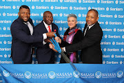 From left, Mizi Mtshali, Nasasa CEO; Andrew Lukhele, Nasasa chairman and founder; Jacqui Rickson, chief executive for group benefits, Sanlam Developing Markets; and Karl Socikwa, Sanlam Developing Markets CEO.