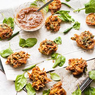 Potato and Spinach Pakoras with Sweet Tamarind Chutney