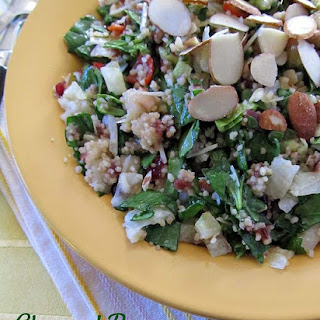 Chopped Pear and Spinach Salad.