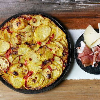 Basque Potato and Pepper Tortilla with Ham and Cheese.