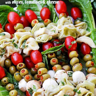 Tortellini Skewers with Olives Tomatoes and Cheese.