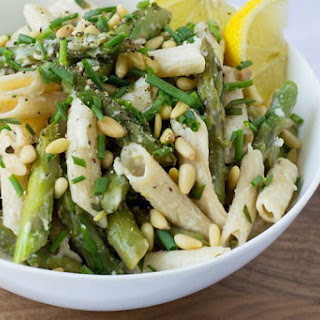 Asparagus, Goat Cheese & Lemon Pasta with Pine Nuts & Chives.