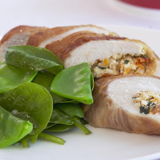 Ricotta Stuffed Chicken with Spinach Salad.