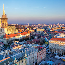 View of main square in Zagreb, Croatia by Dražen Škrinjarić - City,  Street & Park  Vistas ( advent, josipa, jelacic-plac, europe, colorful, katedrala, christmas, croatia, jelacica, holidays, zagreb, trg, city, main, sky, bana, autumn, color, fall, cathedral, square, town, daylight )