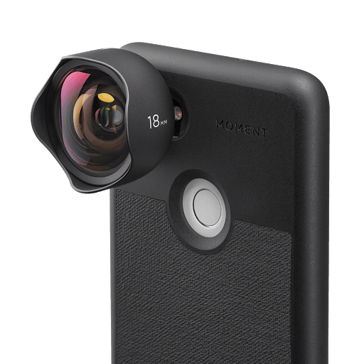 18 mm camera lens attached to phone case
