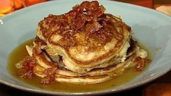 For the pancakes: Heat a griddle to medium-high heat. Fry the bacon until crispy...