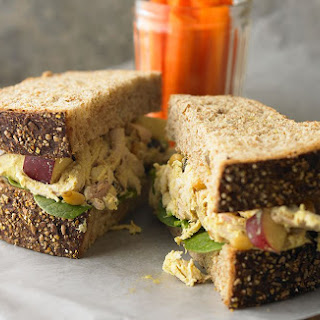 Curried Chicken Salad Sandwich with Cranberries & Pine Nuts.