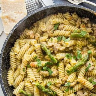 Penne with Sausage and Asparagus Cream Sauce.
