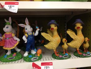 Photo: There was also these figurines. I really liked the duck, but when I was asking the kids their opinion, they were partial to the more traditional Easter bunnies.