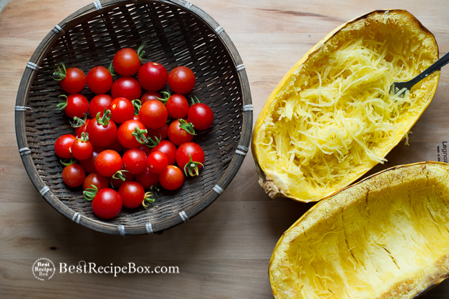 Baked Spaghetti Squash with Tomatoes and Parmesan Cheese Recipe